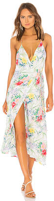 Indah Geranium Halter Wrap Maxi Dress
