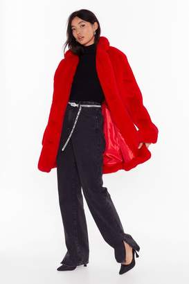 Nasty Gal Womens Faux Fur Coat - Red - S