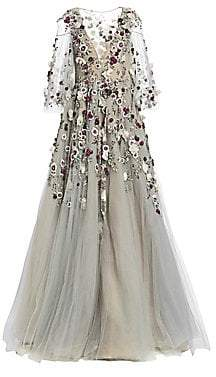 Marchesa Women's Floral Embellished Ball Gown