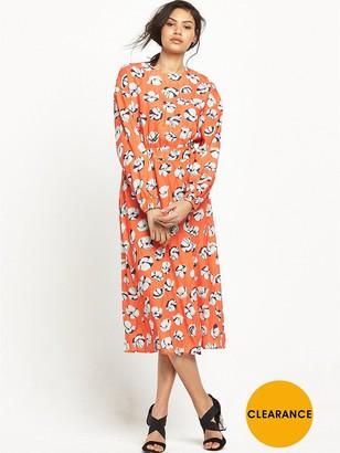 Warehouse Floating Floral Midi Dress - Orange