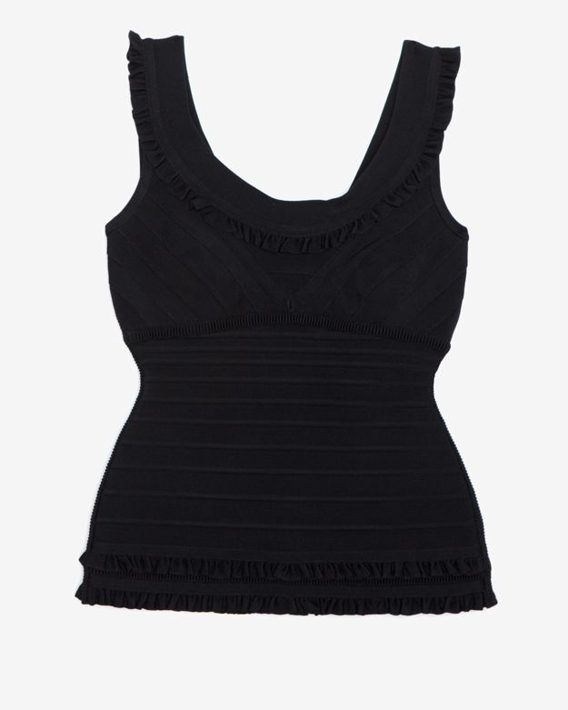 Herve Leger Frilly Ruffle Bandage Off The Shoulder Top