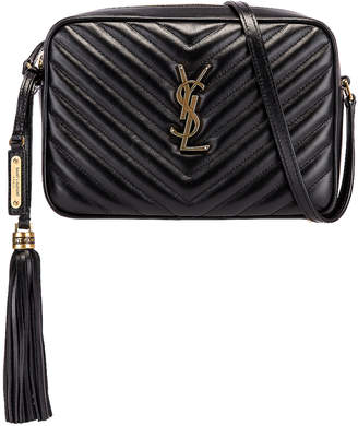 Saint Laurent Medium Monogramme Lou Satchel Bag in Black | FWRD