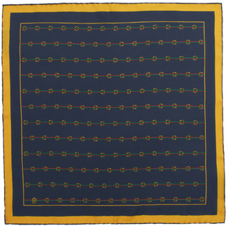 Gucci Navy Silk Horsebit Pocket Square