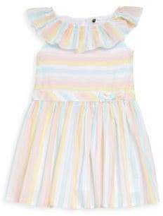 Petit Lem Little Girl's Metallic Rainbow Stripe Dress