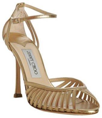 Jimmy Choo gold metallic nappa 'Claret' sandals