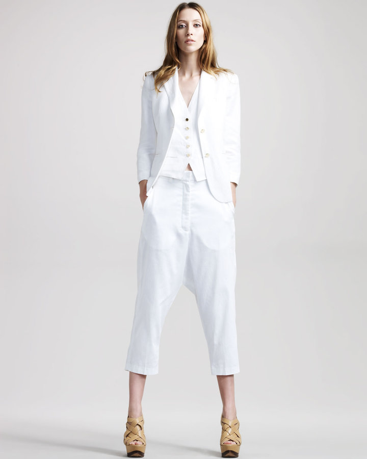 THE ROW Cropped Harem Trousers, White