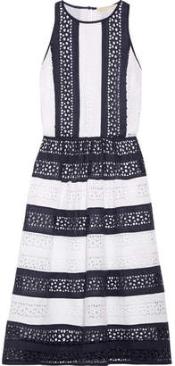 MICHAEL Michael Kors - Striped Broderie Anglaise Cotton Dress - White $250 thestylecure.com