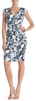 Alexia Admor Floral Printed V-Neck Sheath Dress