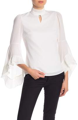 Gracia Tiered Bell Sleeve Crepe Blouse