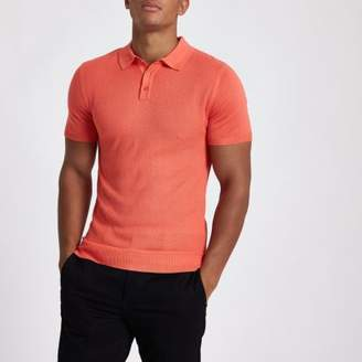 River Island Orange muscle fit textured polo shirt