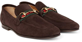 Gucci Elanor Horsebit Webbing-Trimmed Suede Loafers