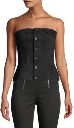 Alexander Wang Strapless Zip-Front Denim Corset Top