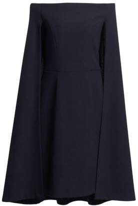 Teri Jon By Rickie Freeman Crepe Off-The-Shoulder Cape Dress