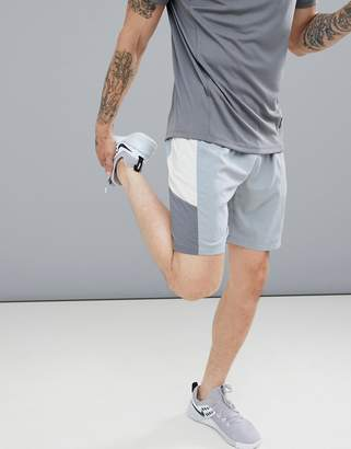 Asos 4505 4505 shorts with cut & sew panels in grey