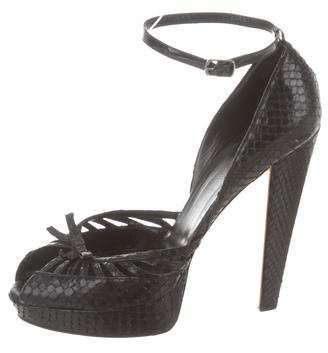 Gucci Peep-Toe Snakeskin Sandals