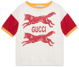 Gucci Children's linen T-shirt with wolves print