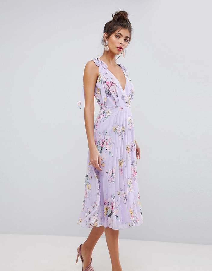 AsosASOS Tie Shoulder Pleated Printed Midi Dress
