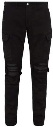 Amiri Mx1 Distressed Camouflage Print Slim Leg Jeans - Mens - Black