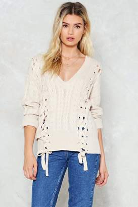 Nasty Gal Knit a Chance Lace-Up Sweater