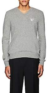 Comme des Garcons Men's Heart Wool V-Neck Sweater - Light Gray