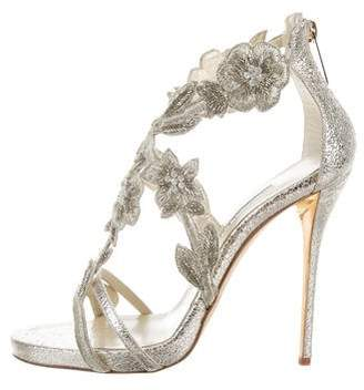 Oscar de la Renta Leather Embellished Sandals