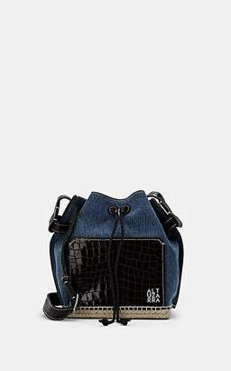 Altuzarra Women's Espadrille Denim & Crocodile-Stamped Leather Bucket Bag - Blue
