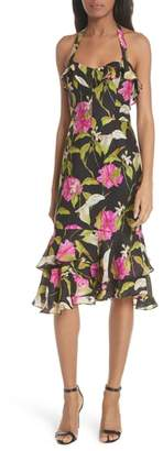 Milly Large Calla Lily Silk Halter Dress