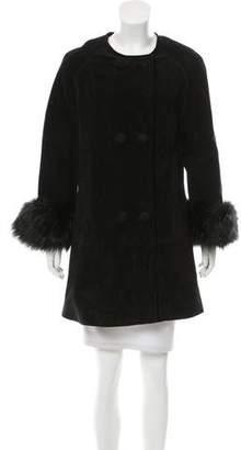 Adrienne Landau Faux Fur-Trimmed Suede Coat w/ Tags