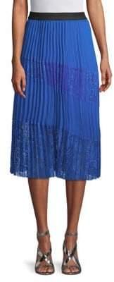 Maje Pleated Lace Panel Skirt