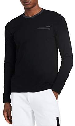 Calvin Klein Men's Slim Fit Long Sleeve Textured Jersey V-Neck Shirt