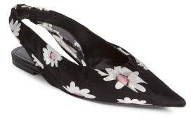 Balenciaga Floral Silk Slingback Flats