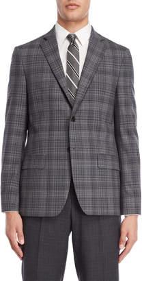 John Varvatos Grey & Blue Plaid Sport Coat