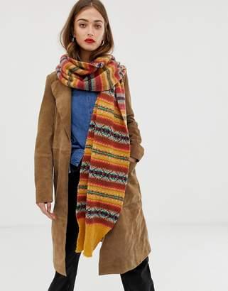 Asos Design DESIGN fairisle knit wool mix long scarf