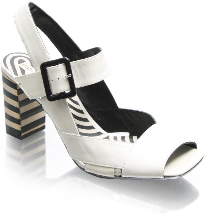 Salvador Sapena Patent Striped Heel Sandals