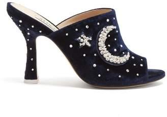 ATTICO Pamela Crystal Embellished Velvet Mules - Womens - Navy
