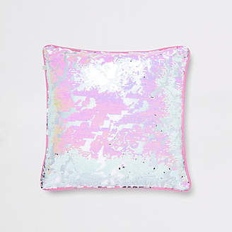 River Island Pink and silver sequin cushion