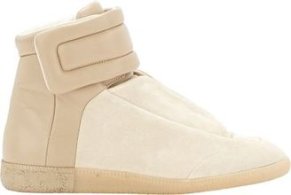 "Maison Margiela MAISON MARGIELA MEN'S BI-COLOR ""FUTURE"" ANKLE-STRAP SNEAKERS-TAN SIZE 8M $970 thestylecure.com"