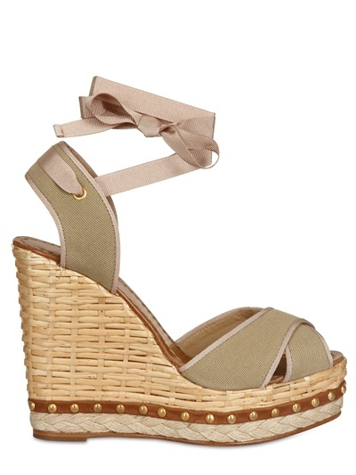 Dolce & Gabbana 130mm Canvas Criss Cross Sandal Wedges