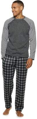 Fruit of the Loom Men's Signature Sweater Fleece Raglan Top & Plaid Lounge Pants Set