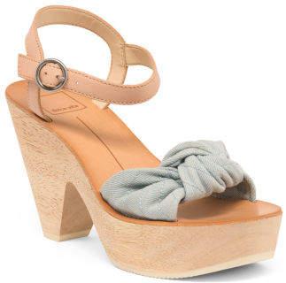 Knotted Ankle Strap Platform Sandals