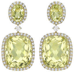 Kiki McDonough Signature Lemon Quartz & Diamond Drop Earrings