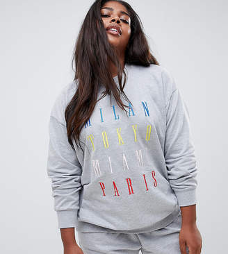 Asos DESIGN Curve Lounge multi city oversized sweat top
