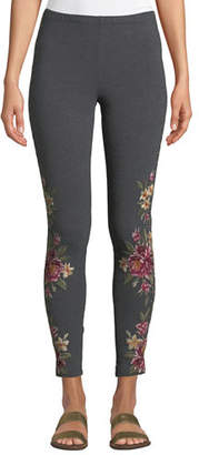 Johnny Was Joanna Leggings w/Floral Embroidery, Plus Size