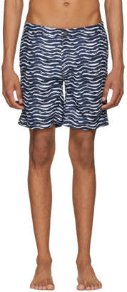 Onia Navy and White Calder Swim Shorts