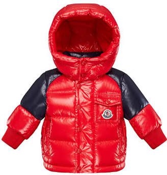Moncler Two-Tone Shiny Puffer Coat, Size 12M-3