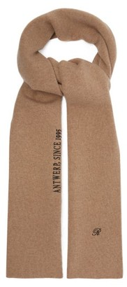 Raf Simons Logo And Text Embroidered Wool Blend Scarf - Womens - Camel