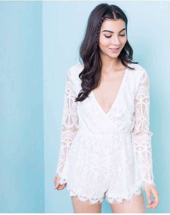 Missy empire mina cream lace overlay playsuit shopstyle - Kidshome palma ...