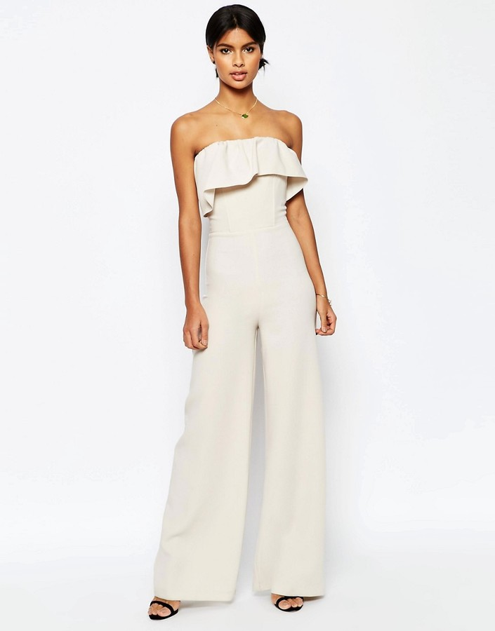 Asos ASOS Occasion Ruffle Jumpsuit with Wide Leg