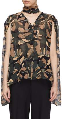 J.Cricket 'Scarf' detachable drape camouflage print silk blouse