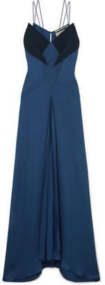 Roland Mouret Crepe-paneled Hammered Silk-blend Gown - Navy